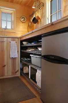 Kitchen in tumbleweed tiny home.