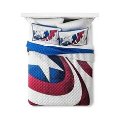Captain America Blue Shield Quilt Set Twin Extra (48 CAD) ❤ liked on Polyvore featuring home, bed & bath, bedding, quilts, grey, gray quilt set, super hero bedding, quilted bedding, captain america twin bedding and grey bedding
