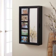 Photo Frames Wall Mount Jewelry Armoire Mirror - High Gloss Black