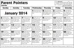 Calendario para padres - Parent Pointers Calendar - High School - JANUARY 2014
