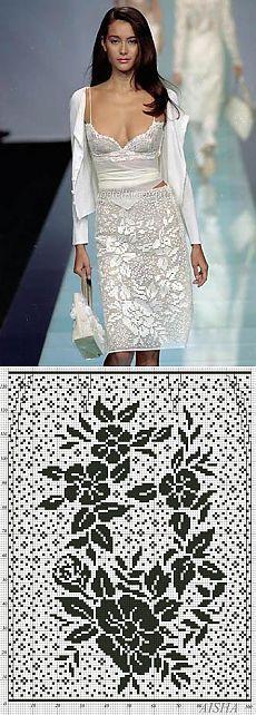 Подиумная юбка в филейной технике. Схемы