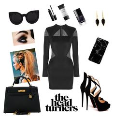 """""""CatEye-Lady in Black"""" by cece-cejay on Polyvore featuring Mode, Balmain, Delalle, Isabel Marant, Christian Louboutin, Hermès, Marc Jacobs und Smashbox"""