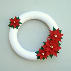 Christmas Yarn Wreath. Holiday Poinsettia Wreath. Red, Green and White Door Wreath.
