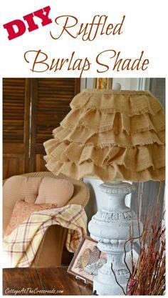 DIY RUFFLED BURLAP SHADE