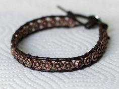 brown leather flowers bracelet