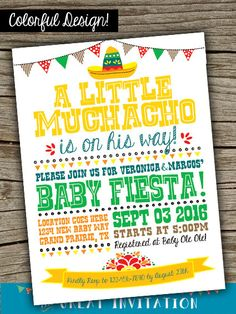 Fiesta Baby Shower Printable Invitation / by TheGreatInvitation