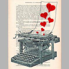 Love letter- ORIGINAL ARTWORK  on 1920 Parisien Magazine 'La Petit Illustration'. $10.00, via Etsy.