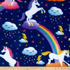 Simply Unicorn Dreams Navy from @fabricdotcom  This soft, warm and cozy fleece is medium weight, double-sided and anti-pill. Perfect for throws, blankets, jackets, hats, mittens, scarves, slippers, pillows, vests, pullovers and much more!