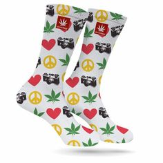 We love these socks so much <3  PEACE LOVE WEED PHOTOGRAPY CREW SOCKS