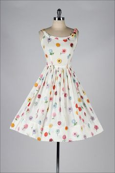 Buy the cheapest fashion @ www.kpopcity.net!! vintage 1950s white floral print cotton sun dress