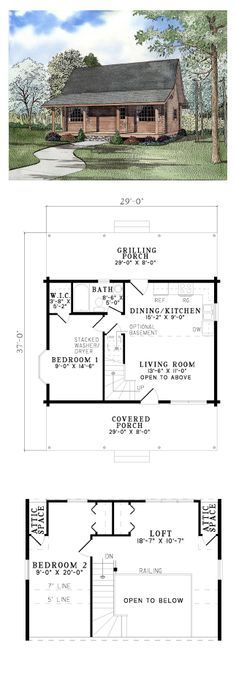 Log House Plan 61147 | Total Living Area: 977 sq. ft., 2 bedrooms & 1 bathroom. The Living room opens to the Loft above providing natural light throughout. The Dining/Kitchen area has access to Rear Grilling Porch. To the left is a Bedroom with a lovely bay window and walk-in closet. #loghomeplan #houseplan
