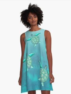 TYE AND DYE TURTLE 368 A-Line Dress Designed and sold by sana90 Pastels, Designer Dresses, Turtle, Women's Fashion, Turquoise, Unique, Casual, Stuff To Buy, Inspiration