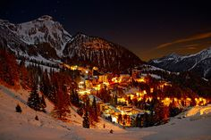 "Stunning shot by Pierpaolo . ""Foppolo by Night"" Lombardy, Italy. Foppolo is a municipality in the Province of Bergamo in the Italian region of Lombardy, located about 120 km northeast of Milan and about 60 km north of Bergamo, Italy. Oh The Places You'll Go, Places To Travel, Places To Visit, Travel Stuff, Beautiful Winter Pictures, Winter Photos, Winter Cabin, Winter Snow, Dream Vacations"