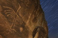 "The Phoenix by Stephen Oachs on 500px. ""Rarely photographed petroglyph captured under the stars. This is one of the most interesting glyphs I've never seen...so simple yet so powerful. It's quite large, about to two feet in total height."""