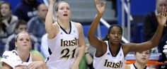 Notre Dame's Brittany Mallory, left, Natalie Novosel, center, and Devereaux Peters react during the second half of Notre Dame's 73-45 victory over West Virginia in an NCAA college basketball game in the semifinals of the Big East women's tournament