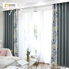 DIHIN HOME Marginal Leaves Printed,Blackout Grommet Window Curtain for Living Room Panel - Pastoral Curtains - Living Room Decor Curtains, Living Room Windows, New Living Room, Printed Curtains, Custom Drapes, Curtain Designs, Glass House, Interior Exterior, Dining Room Chairs