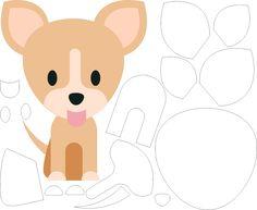 Molde de Cachorro para Feltro – EVA e Artesanatos, molde de cachorro, moldes de animais, moldes, vetor de cachorro, shape de cachorro, vetores de animais
