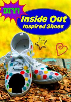 DIY Disney/Pixar Inside Out Shoes are a simple and quick craft project for teens to make. See our full instructions and make your own colorful shoes. - Marble Crafting Inc. Super Easy Crafts For Kids, Crafts For Teens To Make, Quick Crafts, Cute Crafts, Disney Pixar, Disney Diy, Disney Crafts, Pixar Inside Out, Good Movies To Watch