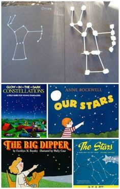 These marshmallow (or chalk) constellations would go great with our Legends of the Night Sky shows! Learn about stars and constellations with some great books and hands-on activities -- like creating marshmallow constellations! Science Activities For Kids, Kindergarten Science, Elementary Science, Science Classroom, Science Lessons, Teaching Science, Kid Science, Book Activities, Stem Science