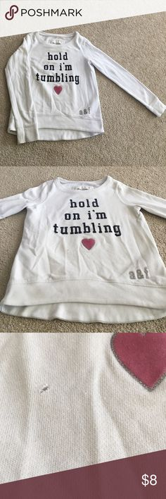 Abercrombie kids sweatshirt Adorable sweatshirt by Abercrombie kids size small. Perfect for the little gymnast !! 60% cotton, 40% polyester. Small hole in front (see picture). Could use a good wash and iron, but still wearable abercrombie kids Shirts & Tops Sweatshirts & Hoodies