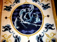 Cats prin vintage scarf silk navy creamy and golden by CHEZELVIRE, $12.00