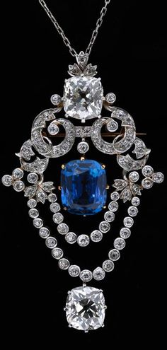 Tiffany & Co., Pendant brooch, ca. 1900 • Platinum, diamond, sapphire