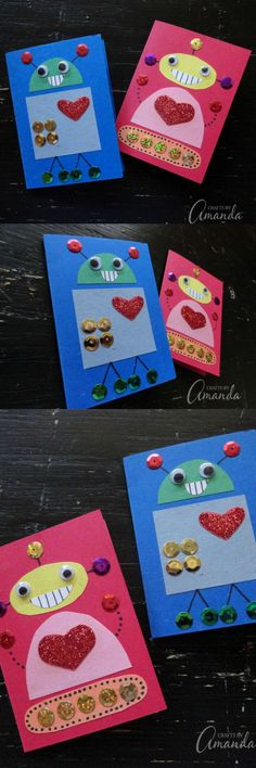 These cute Robot Valentines are perfect for any child, boy or girl! Use supplies such as construction paper and glitter to create your own robot designs. #robot #valentinesday #valentinesdaygift #cardmaking #kids