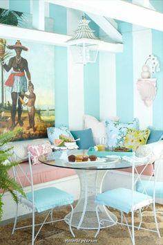 7 Essentials for a Kitchen Banquette - Design ManifestDesign Manifest Banquette Design, Kitchen Banquette, Corner Banquette, Palm Beach Decor, Beach House Decor, Home Decor, Palm Beach Regency, Vert Turquoise, Aqua