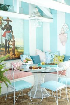 banquette+ruthie+somers+pink+bench+blue+and+white+walls.jpg  round table, corner banquette