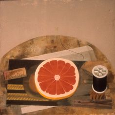 Grapefruit with Black Thread and Clothespin