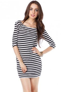 Boat Neck Striped Dress / Shopsosie #stripe #dress #shopsosie