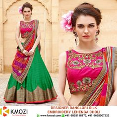 Buy the exclusive New Designer Banglori Silk Pink And Green Embroidery Lehenga Choli for your upcoming occasion and play the eye catcher's role. Order online now or WhatsApp us at +91-9825118172 Place your order at: http://kmozi.com/ #Online #Valentine #fashion #shopping #onlineshopping #clothing #western #surat #mumbai #pune #chennai #kolkata #fashiondesigner #designer #onlinebuying #onlineselling #traditional #indianwear #occasion #fashionista #saree #green #pink #lehenga