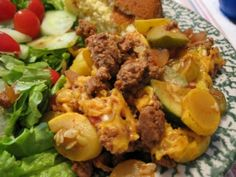 A simple combination of yellow squash, ground beef, and Mexican spices.  A great way to use up the bounty of summer squash in the garden.