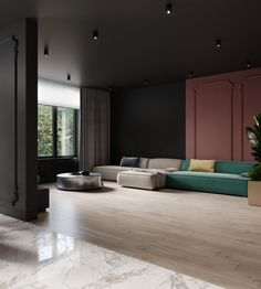 Conept apartment on Behance 3d Interior Design, Interior Design Photography, Interior Architecture, 3d Living Room, Living Spaces, Freelance Interior Designer, Sketchup Pro, 3d Max Vray, Color Schemes Design