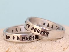 Personalized - You Are My Person Rings- Couple rings -Adjustable. Custom - Rings Set.. Hand Stamped Aluminum Rings.. LOVE (16.50 EUR) by keepWEARME