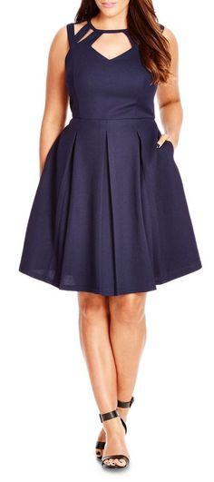 Gorgeous!  Plus Size Cutout Fit & Flare Dress