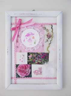 FRENCH SHABBY CHIC STYLE ORIGINAL COLLAGE ART PICTURE FRAMED PINK CUTE