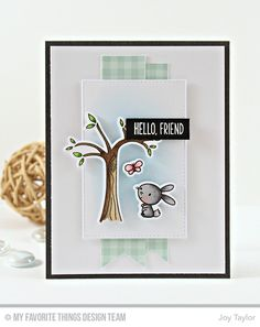 Sweet Forest Friends Stamp Set and Die-namics, Stitched Rectangle STAX Die-namics - Joy Taylor  #mftstamps