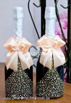 Свадебное шампанское, шампанское на свадьбу, украшение, оформление бутылки…