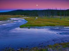Full Moon Over the Madison and Gibbon River, Yellowstone N.P., Wyoming