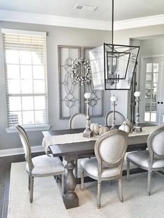 farmhouse dining room with a gorgeous chandelier!