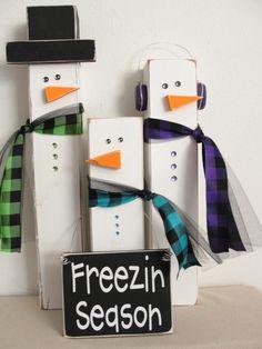 Ah! So cute for next year in Texas because it snows so much. Freezin' Season snowmen blocks