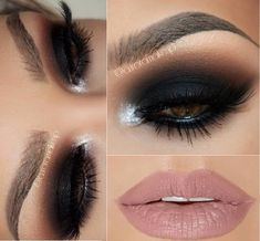 Black smokey eye with nude lips