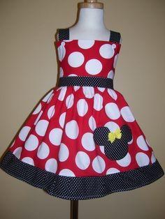 Minnie Mouse Custom Boutique Clothing Min Red Jumbo Dot Tiny  Sassy Girl Dress by amacim on Etsy