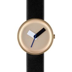 Nomad Nomad Moltair Gold Black Watch ($240) ❤ liked on Polyvore featuring jewelry, watches, oversized wrist watch, stainless steel jewellery, leather strap watches, stainless steel jewelry and black gold jewelry