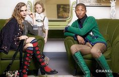Cara Delevingne, Pharrell Williams and Hudson Kroenig for CHANEL Paris-Salzburg pre-fall 2015 campaign photographed by Karl Lagerfeld Chanel 2015, Chanel News, Chanel Paris, Chanel Chanel, Pharrell Williams, Cara Delevingne, Karl Lagerfeld, Nikki Reed, Fashion Advertising