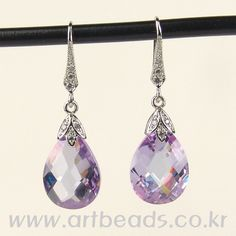 crystal earrings - 12 x 16mm crystals, pinch bails, lever-back earrings