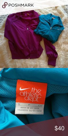 2 Nike Running Jackets Selling 2 small running jackets. Full zippered, vented in the back. In good condition. No obvious wear. Nike Jackets & Coats