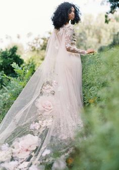 Claire Pettibone floral Primavera wedding dress with embroidered tulle illusion long sleeves, open low back. Shown here with the Gypsy Rose Cape with silk roses, blush and sage embroidery and delicate beading. Making A Wedding Dress, Colored Wedding Dress, Best Wedding Dresses, Bridal Dresses, Wedding Gowns, Wedding Venues, Wedding Rings, Wedding Flowers, Wedding Scene