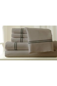 Amrapur 1000 Thread Count Cotton Blend Sheet Set - Silver/Graphite